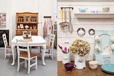 El espacio de trabajo de una estilista  , Mesa Chippendale heredada que fue restaurada por Virginia y su marido, Darío, y se vistió con camino de arpillera (Cucina