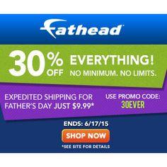 Fathead : 30% off any order  http://www.mybargainbuddy.com/fathead-30-off-any-order