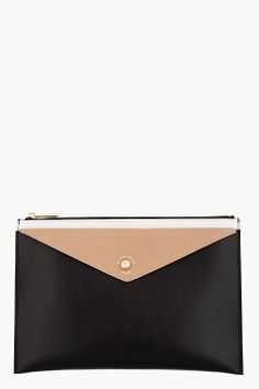 GIVENCHY Black & beige leather Envelope pouch