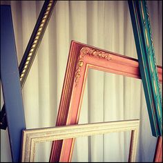 Vintage frames are given a fresh look when painted with Chalk Paint® decorative paint by Annie Sloan in Old Violet, Olive, Old Ochre, Scandinavian Pink & Florence | By Stockist MECO7 of Glenwood, MN