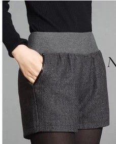 Women Winter Shorts Elastic Waist Casual Shorts 2014 Autumn Winter Wool Straight Shorts Dark Grey Classical Shorts