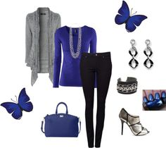 """Black and Blue"" by tanherb on Polyvore"