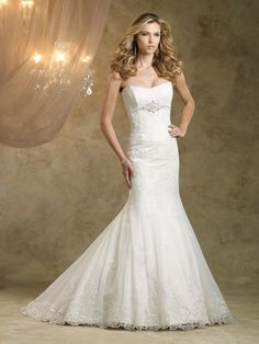 Trumpet/Mermaid Strapless Lace Satin Sweep Train White Beading Wedding Dresses at Msdressy