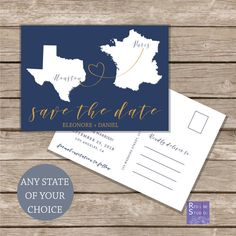 Save the date Destination wedding   Printable custom file   State or Word Map postcard   personalised customised file