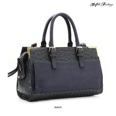 Buffalo Fandango Ostrich Satchel with Removable Strap - Assorted Colors