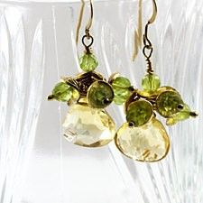 Large citrine earings,  yellow and green earings, peridot  beads earings, handmade jewelry, unique gift
