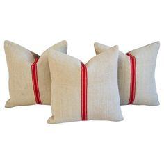 one kings lane   red stripe textile & linen pillows