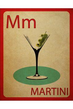 mynameisjz Martini Flashcard Poster