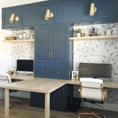navy built ins long desk home office brass sconces home desk double desk. wallpa… – Home Office Wallpaper Guest Room Office, Home Office Space, Home Office Design, Home Office Decor, Home Decor, Office Designs, Decorating Office, Office Decorations, Decorating Ideas