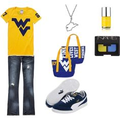 WVU, want that necklace and it would have to be yellow shoes of course!