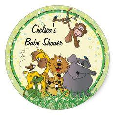 Safari Jungle Baby Animals Round Stickers