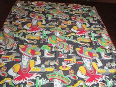 Charming Mexican 1950s 50s Tablecloth by FabulousVintageHats