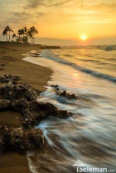 Sunset at Haleiwa Beach Park, Hawaii