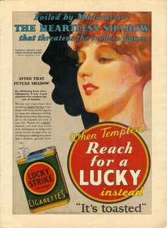 1930 LUCKY STRIKE CIGARETTE TOBACCO SHADOW FIGURE FASHION 'WEIGHTLOSS' ART AD
