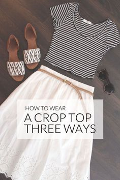 A crop top is one of those 'love it' or 'hate it' items of clothing. Read on for three ways you can style a crop top that will inspire you to give this midriff baring trend a try. If you like this post,. Classy Outfits, Casual Outfits, Cute Outfits, Fashion Outfits, Womens Fashion, Black Strappy High Heels, Dress To Impress, Style Me, Spring Fashion