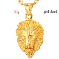 Hip Hop Big Lion Head Pendant & Chain For Men Jewelry Platinum/Yellow Gold Plated Vintage Kpop Statement Necklace Best Presents For Men, Lion Necklace, Pendant Necklace, Black Hills Gold Jewelry, Black Gold, Gold Chains For Men, Love Charms, I Love Jewelry, Chain Jewelry