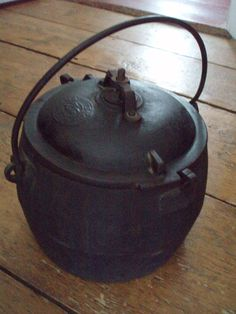 Antique Cast iron pressure cooker soup digester Savery & Co