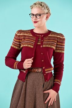Emmy the fair Fair Isle cardigan. wine at Campbell Crafts