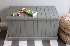 DIY distressed up-cycled toy box in grey by CreatureComfortsCreative.com