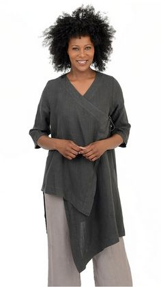 Love it? Click twice to buy this now - now only $49.99! This beautiful BRYN WALKER Linen Cross-Over Tie ZENA TUNIC Hi-Lo Duster Top XS S M L XL.. Many colors available, light linen. Made in USA. #tunic #linen #lagenlook #artsy