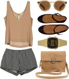 plain brown tank with pattern shorts and neautral accessories