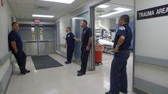 Paramedics await a call at Methodist Hospital in Gary, Indiana.