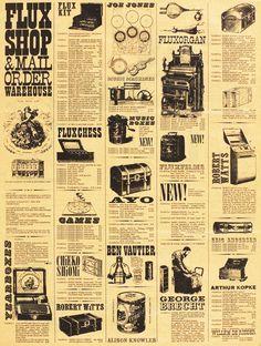 Fluxshop and Mailorder Warehouse: Fluxus Newspaper No. Designed by George Maciunas. Fluxus Art, Joseph Kosuth, Newspaper Art, American Diner, Mail Art, 1960s, Tokyo, Graphic Design, Life