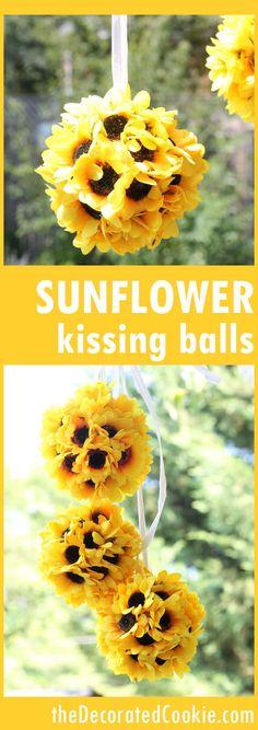 EASY sunflower kissing balls home decor craft -- fall craft -- porch decor
