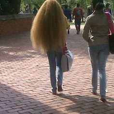 Thick frizzy blonde hair
