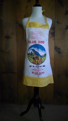 Blue bird flour sack apron www.pietownaprons.com