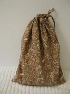 Medium Brown Tea Leaves Wrapping Bag with self fabric drawstring by CrazyAuntBettyBags on Etsy