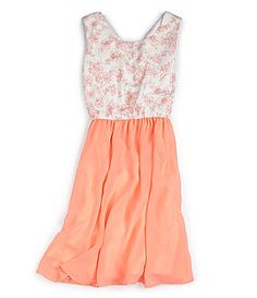 Flower Girl (J) GB Girls 716 Floral Print Lace 2Fer Dress #Dillards