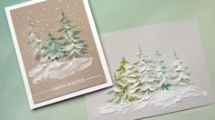 Kristina Werner Holiday Card Series 2016 - Day 16 using Tim Holtz layering stencil, texture paste and rock candy glitter.