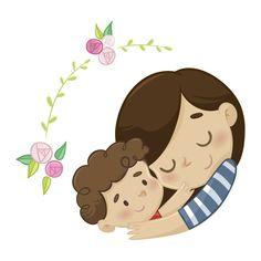 Madre e hijo Vector Premium Little Girl Illustrations, Family Illustration, Illustrations And Posters, Kawaii Drawings, Cartoon Drawings, Cute Drawings, Mother Art, Mother And Child, Mother Clipart