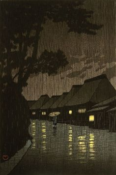 """Rainy Night at Maekawa, Soshu"" by Kawase, Hasui (1883-1957) – Japan."