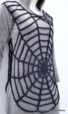 [sc [sc This is CROCHET PATTERN ONLY of Spiderweb Tunic! This reversible crochet tunic can be a part of your Halloween costume. Crochet pattern with a lot of tutorial photos and detailed written in English instruction. Crochet Tunic Pattern, Easy Crochet Patterns, Crochet Hooks, Crochet Lace, Black Tunic, Black Lace Tops, Crochet Simple, Double Crochet, Single Crochet