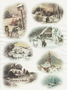 Rice Paper for Decoupage Decopatch Scrapbook Craft Sheet Vintage Winter Village