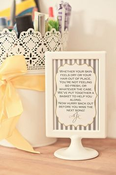 Basket of restroom essentials for your wedding guests + a cute poem = wedding success! | http://www.weddingpartyapp.com/blog/2014/08/25/pamper-wedding-guests-diy-bathroom-essentials-basket/