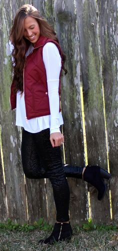 Solid Wine Puffer Vest – Monica's Closet Essentials