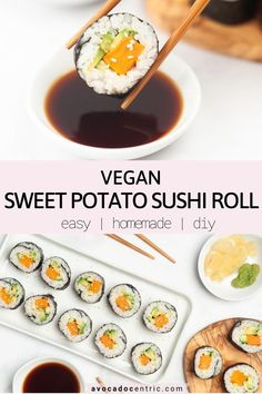 This sweet potato sushi roll recipe is vegan, gluten free, healthy, diy and also easy to make! In addition, these vegan sushi rolls can be a light meal or appetizer, loaded with fresh veggies and budget friendly.  I make sushi without a bamboo mat but you can use it if you like. You can also use an egg replacer and coat the roasted sweet potatoes with bread crumbs to make tempura sweet potato sushi roll! It ois easy to make them at home and also cheaper! #sweetpotatosushiroll #sushi #vegan #