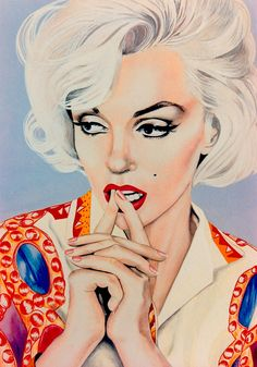 DETAIL: 'MARILYN MONROE in PUCCI' original art by Robert Rechter (copyright) (please credit the artist when pinning to pinterest) hand-painted in gouache, pencil & Conté chalk on board. 1990's (minkshmink collection) See also my EAT YOUR MAKEUP : MY ART pinterest board.