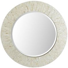 "Ivory Mother-of-Pearl Mirror - 31"" Round 