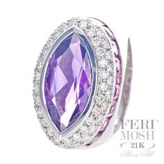 FERI MOSH Oscar Ring - White Gold with a large oval Amethyst gemstone surrounded by high quality white diamonds. Jewelry Design, Designer Jewelry, Quality Diamonds, Dream Ring, Amethyst Gemstone, Cute Jewelry, Go Shopping, Heart Ring, White Gold