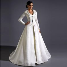 Wholesale Hot ! 2014 New White Sweetheart Mermaid Wedding Gown With Long Sleeves Satin Over Coat A-Line Wedding Dresses In Dubai T-shirt Wedding Gown, Free shipping, $155.79/Piece | DHgate Mobile
