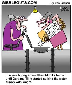 Cartoon about two old ladies spiking the water supply with Viagra Old Lady Cartoon, Senior Humor, Old Folks, Adult Humor, Funny Comics, Old Women, Getting Old, The Funny, In This World