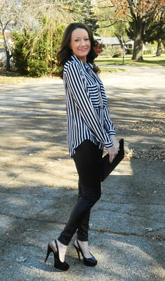 black and white stripes + faux leather pants