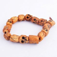 Feng Shui Ox Bone Carved Skull Beads Tibet Buddhist Prayer Bracelet  One Free Red String Bracelet SkUH2027 *** Check this awesome product by going to the link at the image. (This is an affiliate link and I receive a commission for the sales)