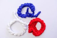 3 American flag womens bracelets for 4th of July parties and the Soccer World Cup 2014. Braided crochet fabric jewelry. Handmade by COLOROGY.