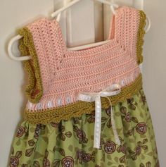 Toddler Sundress - Birds Nests With Eggs Spring Green and Blush Pink Crochet Bodice Sundress - Size 2T (SUND116)