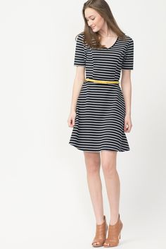 Striped Skater Dress With Bow Belt